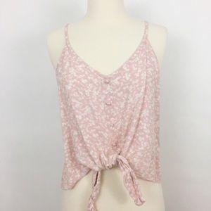 Tops - NWOT mossimo | blush crop top front tie sz medium
